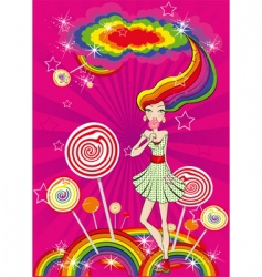 Lolly pop girl vector