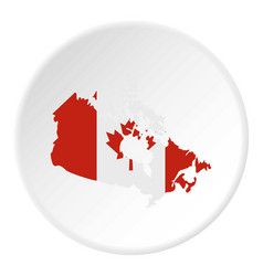 Map of canada in national flag colors icon circle vector