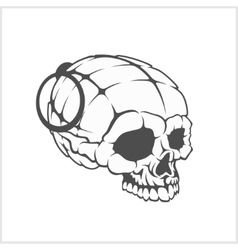 Military skull - grenade in the form of a skull vector