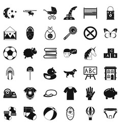 Minor icons set simple style vector