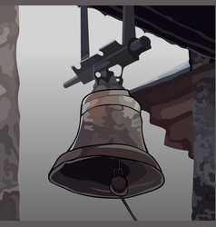painted the bell attached to the roof vector image vector image