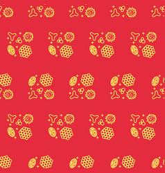 Pollen beekeeping seamless pattern in a linear vector