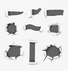 Realistic holes in white paper background vector