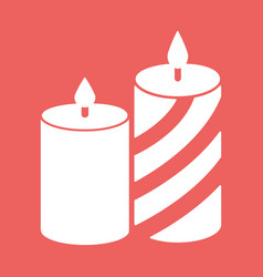 Romantic candle lines flat icon vector