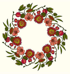 round ornament with tropical flowers vector image