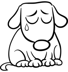 Sad dog cartoon coloring page vector