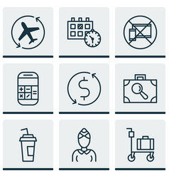 set of 9 transportation icons includes vector image vector image