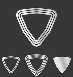 Silver line triangle logo design set vector