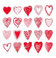 sketch set of red hearts shapes valentines design vector image