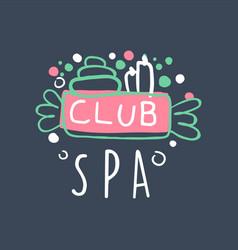 spa club logo badge for wellness yoga center vector image vector image
