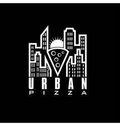 urban pizza with sun design template vector image vector image