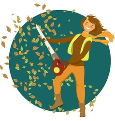 Woman with a leaf blower vector image