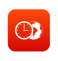 world planet with watch icon digital red vector image