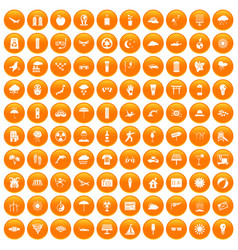 100 sun icons set orange vector