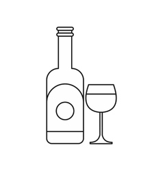 Wine and glass icon outline style vector