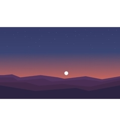 Silhouette of hill at night vector