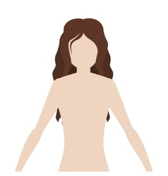 Half body woman body with wavy hair vector