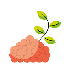 storm brain with leafs plant isolated icon vector image