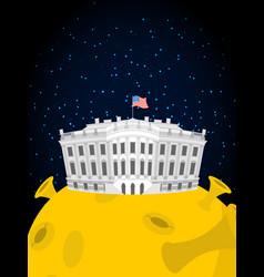 White house in moon us president residence in vector