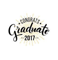 congratulations graduate 2017 vector image