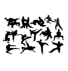 Karate fight martial art silhouettes vector