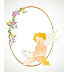 Angel with flowers and oval frame vector image