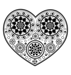 Monochromatic heart ornament vector