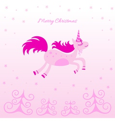 Christmas card with a dreamy horse vector