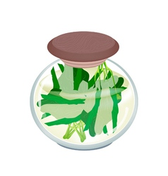 A jar of delicious pickled chinese broccoli vector