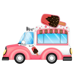 A pink car selling icecream vector image