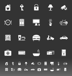 General home stay icons on gray background vector