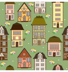 Seamless pattern of houses vector