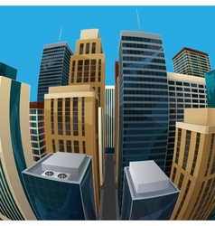 Panoramic fisheye lens cityscape vector