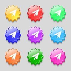 Paper airplane icon sign symbol on nine wavy vector