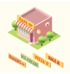 Flat 3d isometric cafe bakery ice cream pizza sale vector