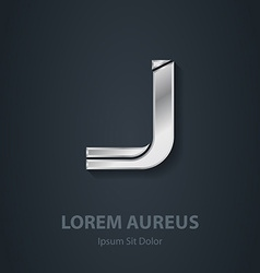 Letter j elegant silver font template for company vector