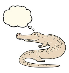 Cartoon alligator with thought bubble vector