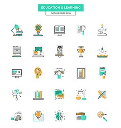 Flat line color icons education vector