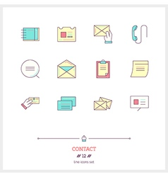 Contact line icons set vector