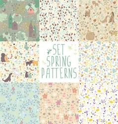set of spring floral patterns vector image