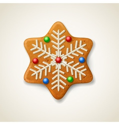 Christmas gingerbread snowflake vector