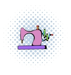 Sewing machine icon comics style vector