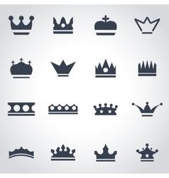Black crown icon set vector