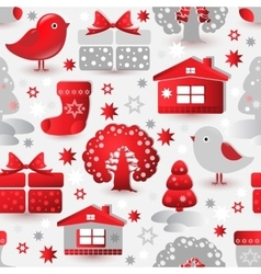 Christmas seamless pattern include tree house vector