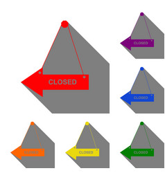 Closed sign set of red orange vector