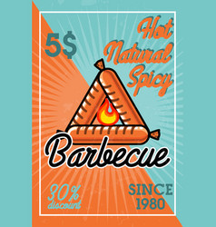 Color vintage barbecue banner vector