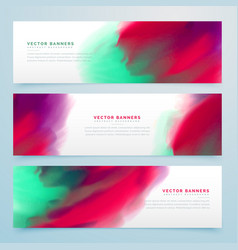 Colorful watercolor style banners collection vector