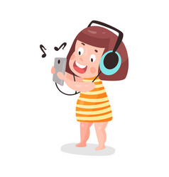 Cute cartoon little girl listening music with vector