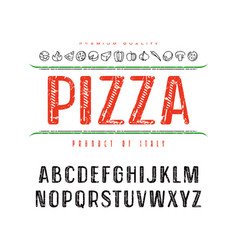 decorative sanserif font and pizza box cover vector image vector image