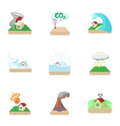 Disaster icons set cartoon style vector